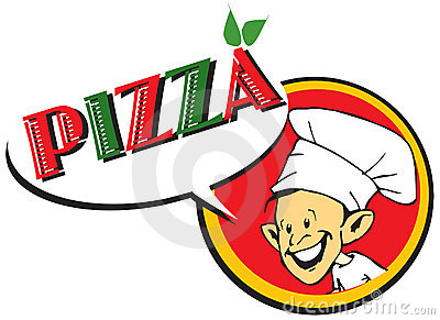 Italian cook / pizzaiolo with pizza / logo