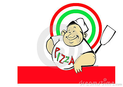 Italian cook / pizzaiolo with pizza / logo