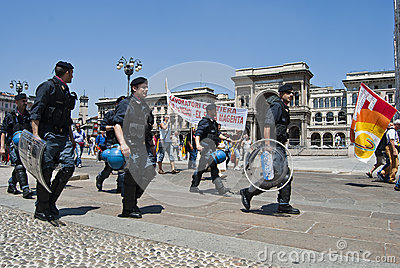 Italian cops during a manifestation Editorial Photography