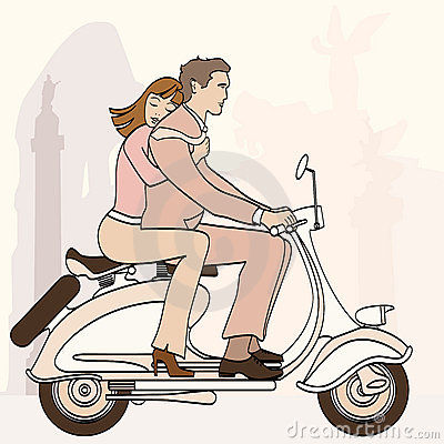 Italian couple on a scooter