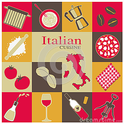 Italian Cuisine Icons Set