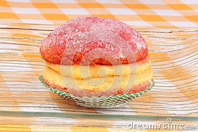 Italian custard pastry with alchermes