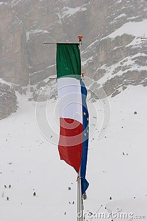 Italian and the EU flag