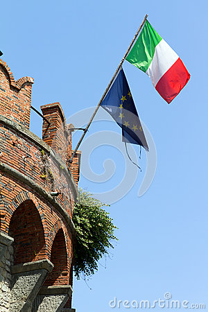 Italian and european flag