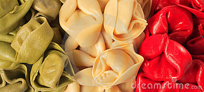 Italian flag coloured pasta