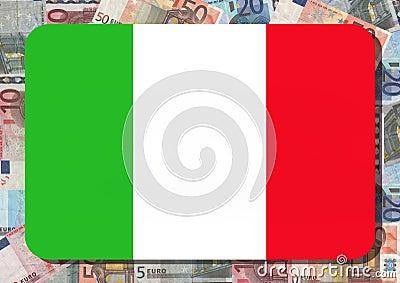 Italian flag with euros