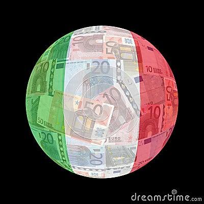 Italian flag on euros