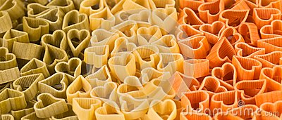 Italian flag made from color pasta of heart