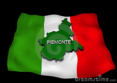 Italian flag with the Piedmont Region