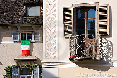 Italian flag on window
