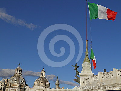 Italian flags in Rome