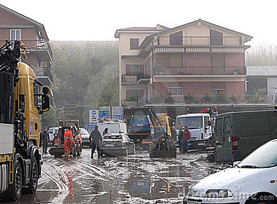 Italian floods aftermath and cleanup, general view Editorial Stock Image