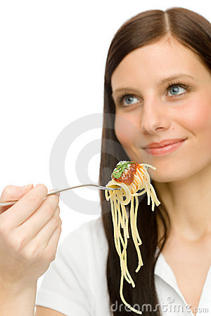 Italian food - healthy woman eat spaghetti sauce