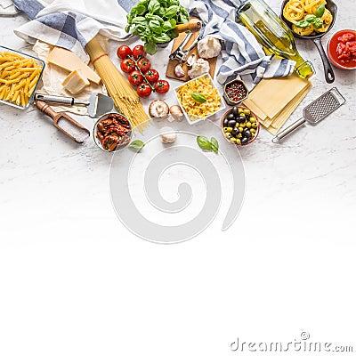 Free Italian Food Ingredients Pasta Olive Oil Parmesan Cheese Basil G Stock Photos - 117926833