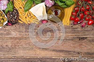 Italian food ingredients on wooden background Stock Photo