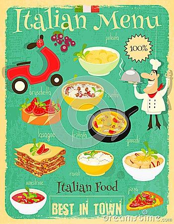 Italian food menu stock vector image 70130375 for Cuisine retro design