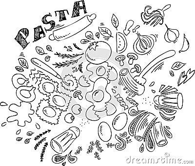 Italian food: pasta vector