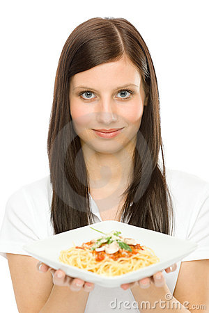 Italian food - portrait woman spaghetti sauce