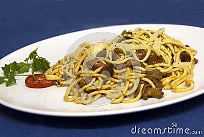 Italian food - spaghetti with venison sauce