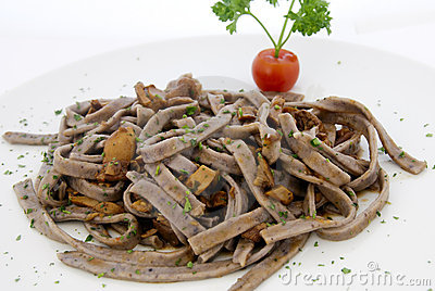 Italian food - tagliatelle with mushroom sauce