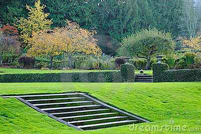 Italian garden in fall