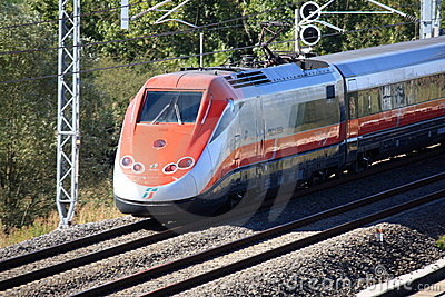 Italian high speed train passing by Editorial Photography