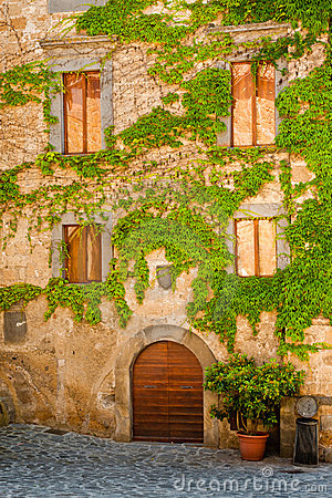 Italian Home with Vine Covered Front