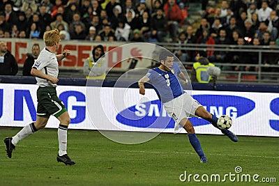 Italian and Irish soccer players Editorial Stock Photo