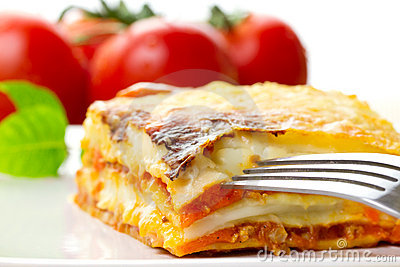 Italian lasagna close up