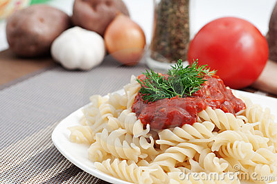 Italian macaroni pasta with tomato sauce