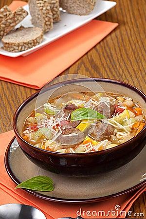 Free Italian Meatball Soup Royalty Free Stock Image - 22108056