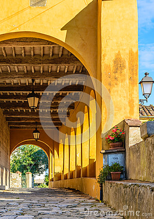 Free Italian Medieval Porch, Tuscany, Italy Royalty Free Stock Photography - 49268967