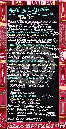 The Italian menu