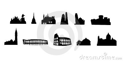Italian monuments vectored