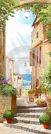 Free Italian Old Balcony With Flowers Pot Stock Image - 80875591