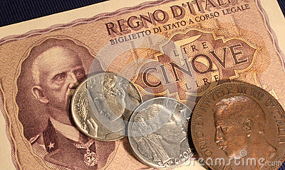 Italian old lire money