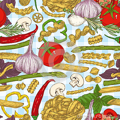 Free Italian Pasta And Vegetables. Seamless Pattern Royalty Free Stock Photography - 88215277