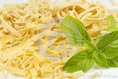 Italian pasta and basil