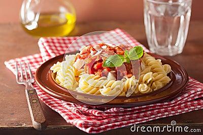 Italian Pasta Fusilli With Tomato Sauce And Basil Stock Photo - Image ...