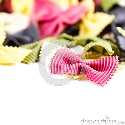 Free Italian Pasta  Isolated On White Background Macro. Fresh Bow Tie Stock Photos - 40379333