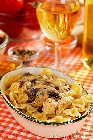 Italian pasta with mushrooms and chicken meat