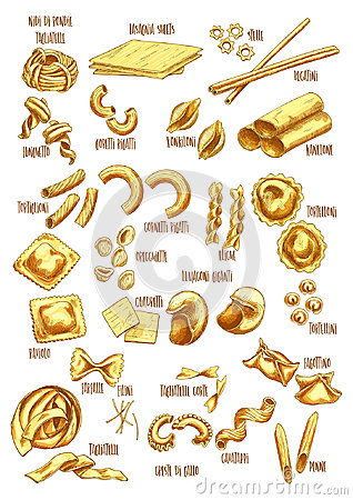 Free Italian Pasta Names Vector Sketch Icons Set Stock Images - 95380824