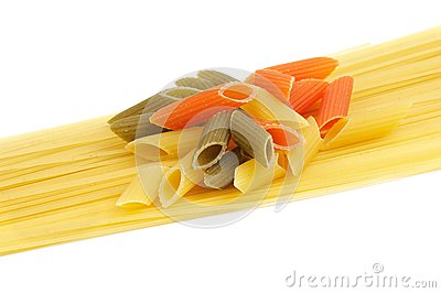 Italian pasta spaghetti and Penne rigate tricolore