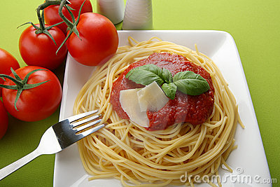 Italian pasta with tomato sauce and parmesan.