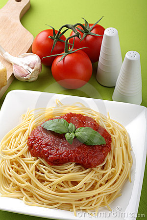 Italian pasta with tomato sauce and parmesan
