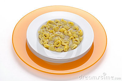 Italian pasta ,tortellini in broth