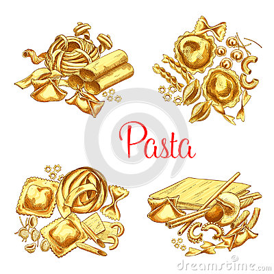 Free Italian Pasta Vector Icons Set For Restaurant Stock Images - 97061354