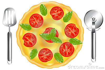Italian Pizza With Pizza Spatula. Vector