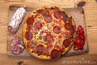 Italian pizza and salami.