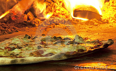 Italian pizza in a wood burning oven